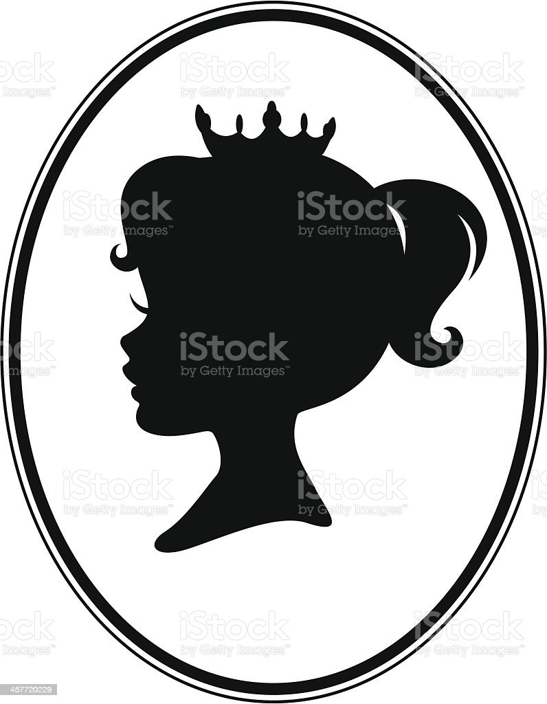 Little Girl Princess Cameo Silhouette vector art illustration