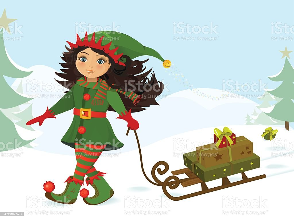 Little girl pulling Christmas gifts on a sled royalty-free stock vector art