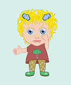 Little girl rain. A child for a walk. The baby is naughty and about to cry. Vector illustration.