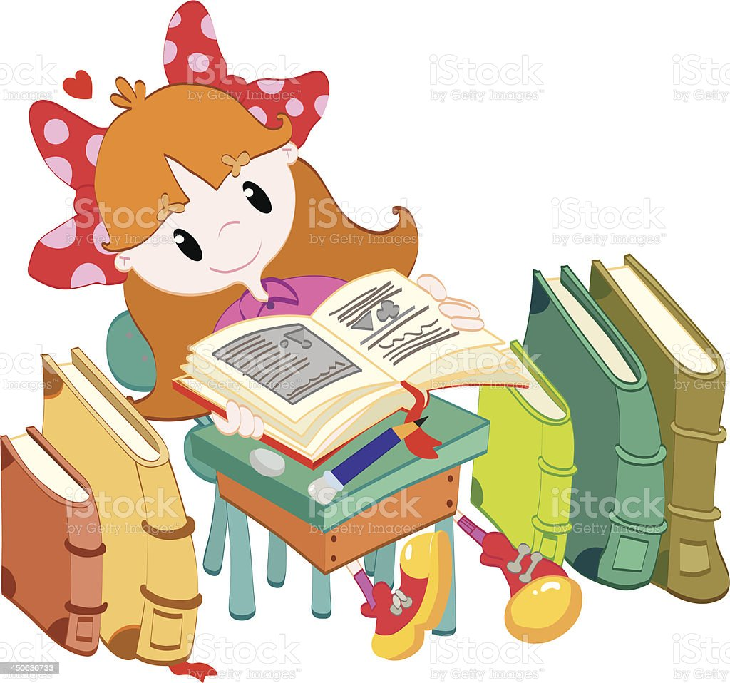 Little girl reading a book royalty-free stock vector art