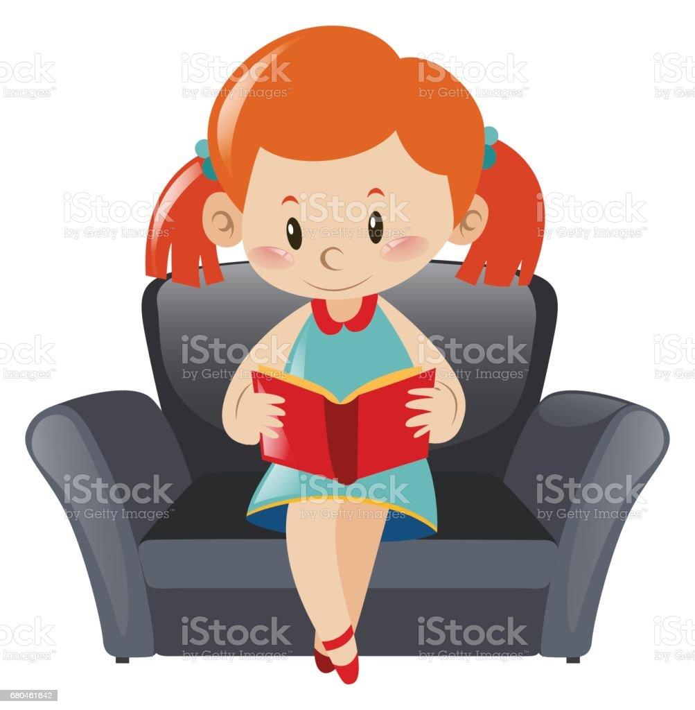 Cool Little Girl Reading Book On Sofa Stock Illustration Bralicious Painted Fabric Chair Ideas Braliciousco