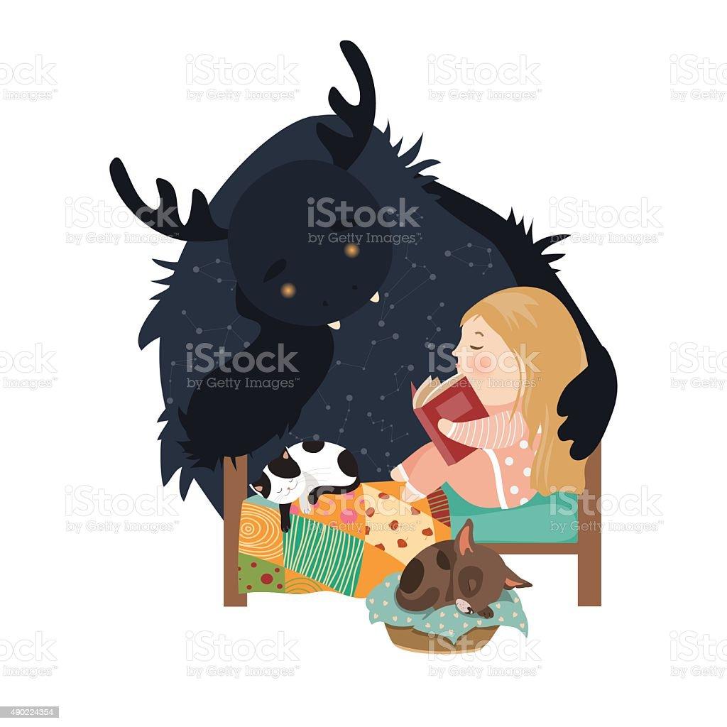 Kleines Mädchen lesen Märchen zum monster – Vektorgrafik