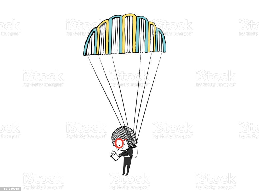 Little girl reading in a parachute made with books. Hand drawn vector illustration vector art illustration