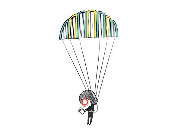 little girl reading in a parachute made with books. hand drawn vector illustration - reading stock illustrations
