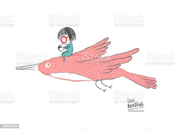 Little girl reading on a big bird vector illustration vector id865825554?b=1&k=6&m=865825554&s=612x612&h=yecgia8l65n6tvkoxe4gds3uurgb85ldzwndiufgq0e=