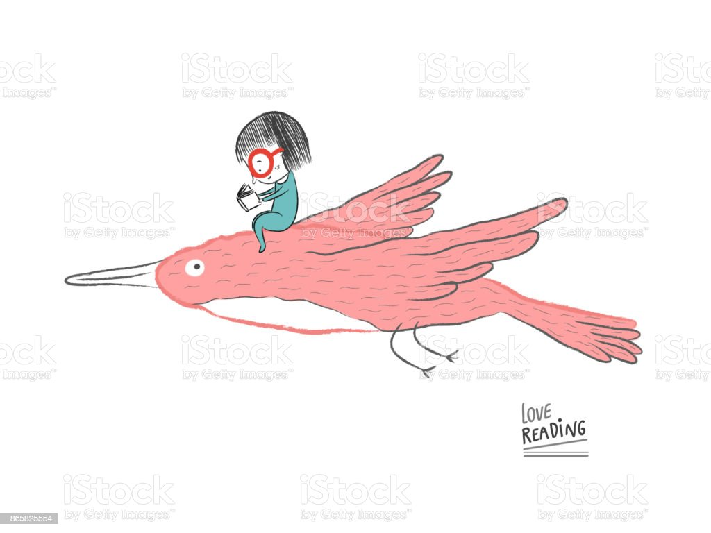 Bекторная иллюстрация Little girl reading on a big bird, vector illustration