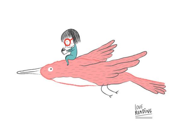 stockillustraties, clipart, cartoons en iconen met meisje lezen op een grote vogel, vectorillustratie - teenager animal