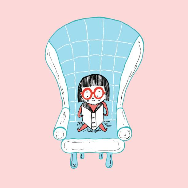 stockillustraties, clipart, cartoons en iconen met little girl reading sitting on a sofa, hand drawn vector illustration - a little girl reading a book