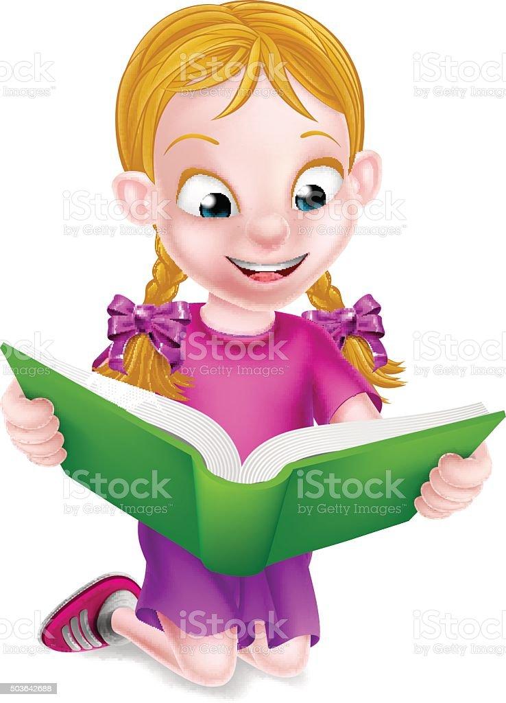 Little Girl Reading stock vector art 503642688   iStock