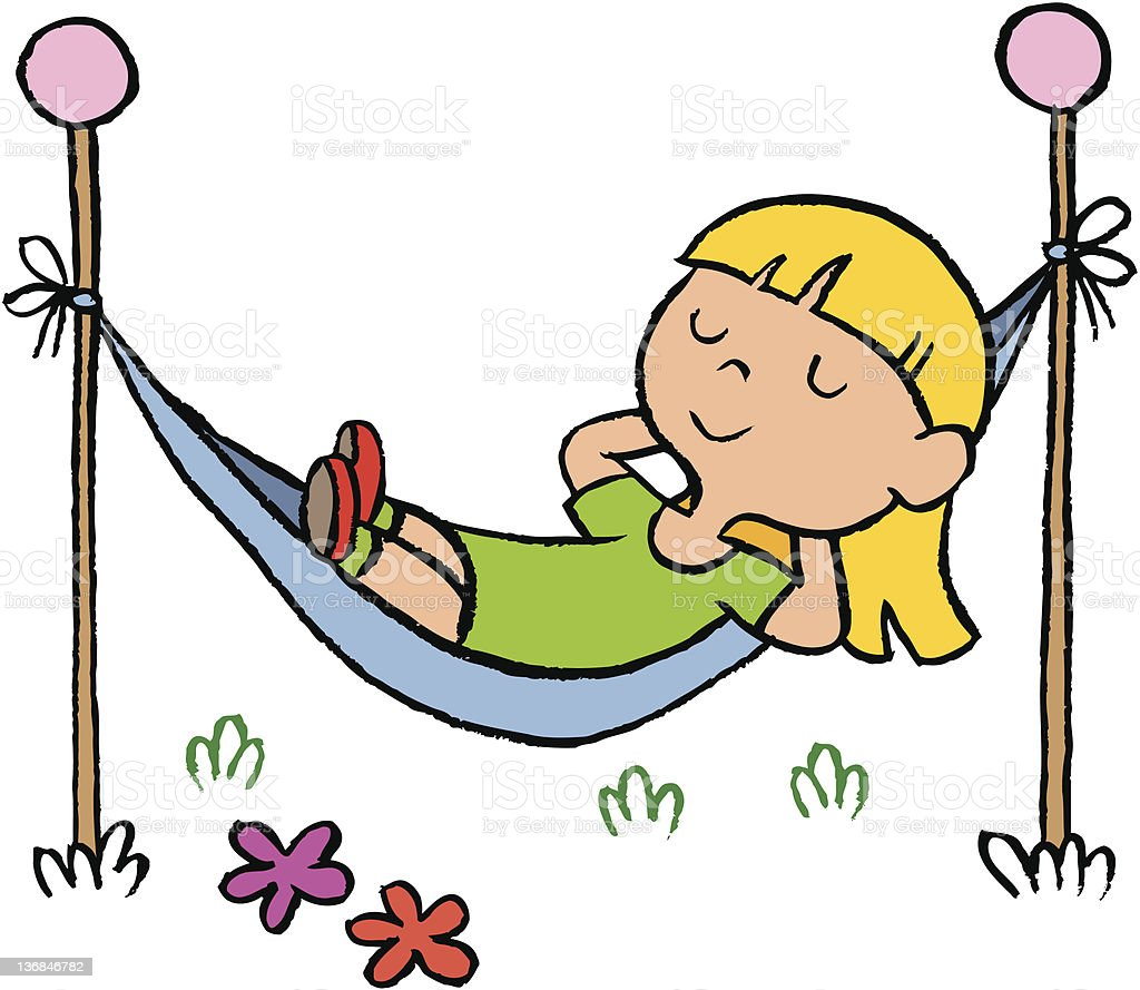 little girl relaxing in a hammock stock vector art more images of rh istockphoto com relax time clipart relax time clipart