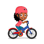 African american girl on bicycle