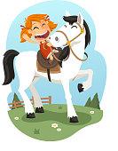 Little Girl Riding Horse, vector illustration cartoon.