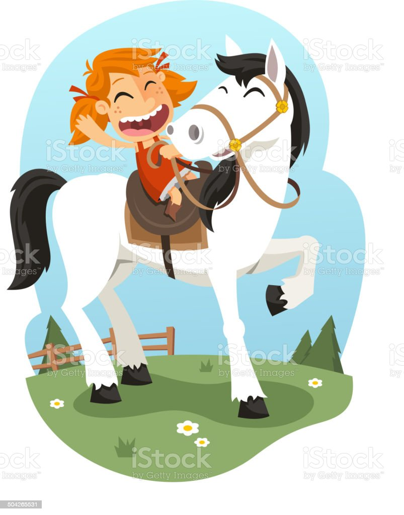 Little Girl Riding Horse vector art illustration
