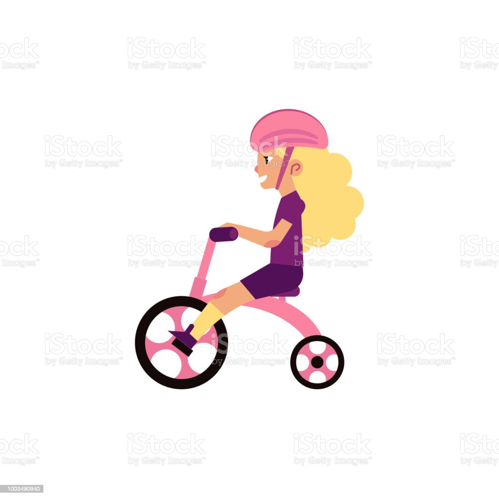 Little girl riding tricycle - cute female child wears safety helmet and rides pink bicycle isolated on white background. vector art illustration