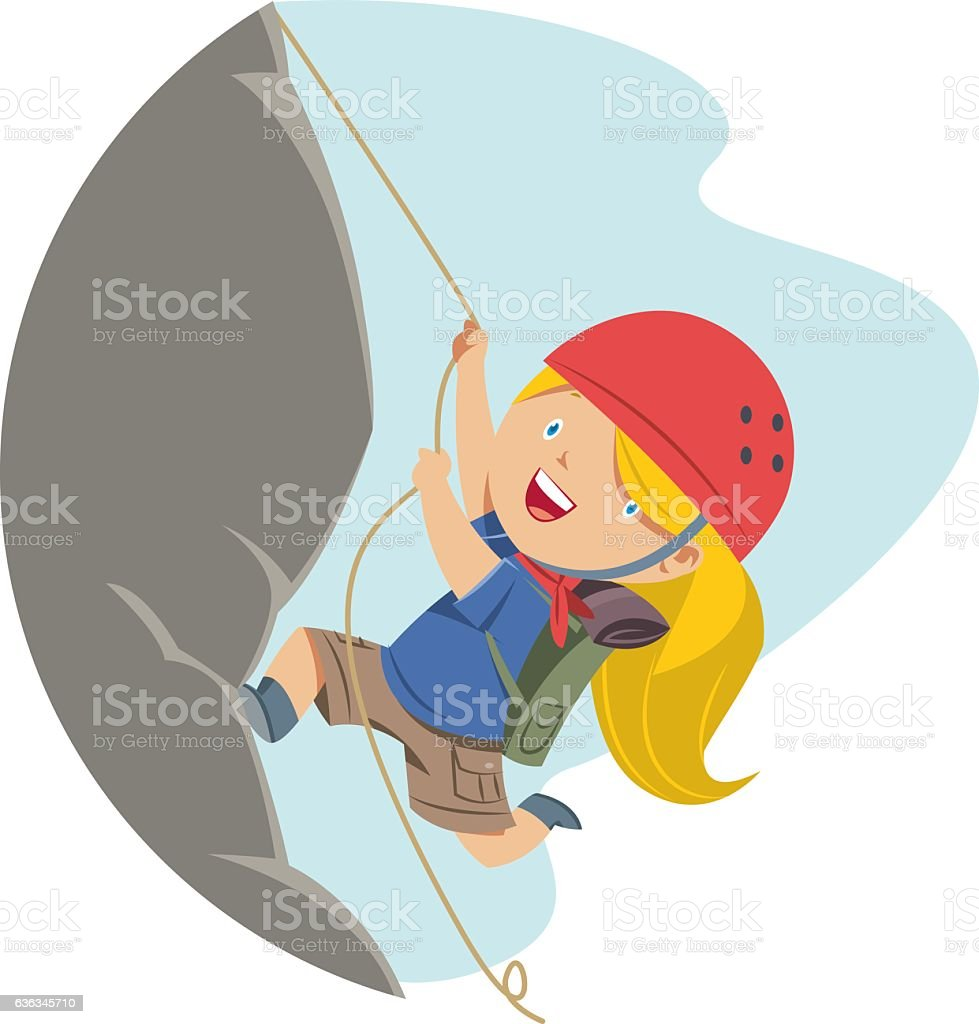 Little Girl escalada en roca - ilustración de arte vectorial