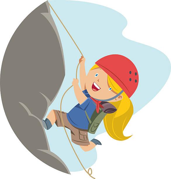 little girl rock climbing - rock climbing stock illustrations, clip art, cartoons, & icons