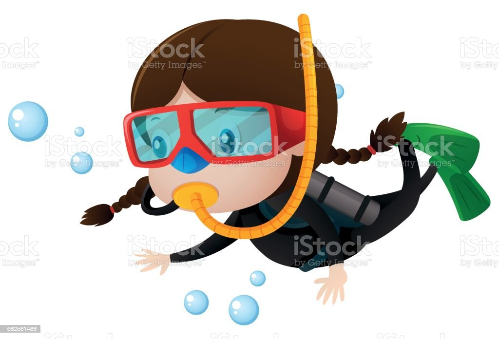 Image result for little girl scuba diving animated