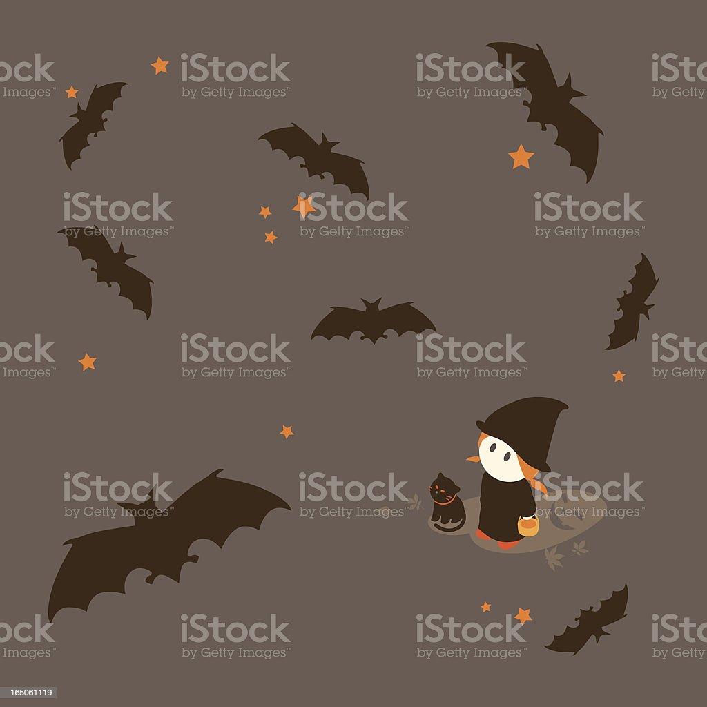 Little Girl Series: Bats flying during Halloween royalty-free stock vector art