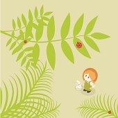 Little Girl Series: summer ladybug on leaves
