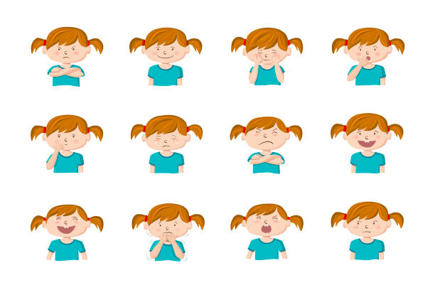 Little girl showing different emotions. vector art illustration