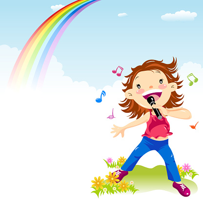 Little Girl Singing in Spring