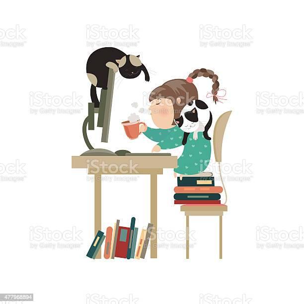 Little girl sitting at computer and drinking coffee vector id477968894?b=1&k=6&m=477968894&s=612x612&h=0wrteq8w4x5bsmmi9bhhja11mpdga mf0tklubmlihc=
