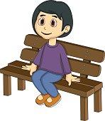 Little girl sitting on a bench cartoon