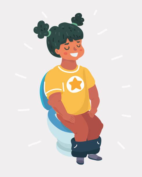 Girl Pee Toilet Illustrations, Royalty-Free Vector