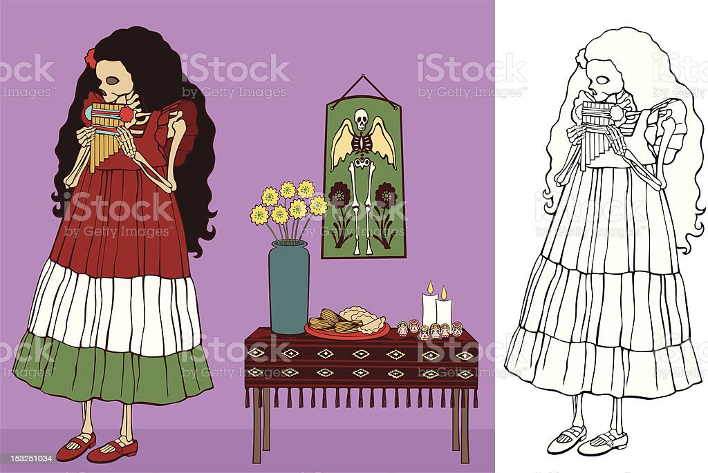 Little Girl Skeleton playing Pan Pipes royalty-free stock vector art