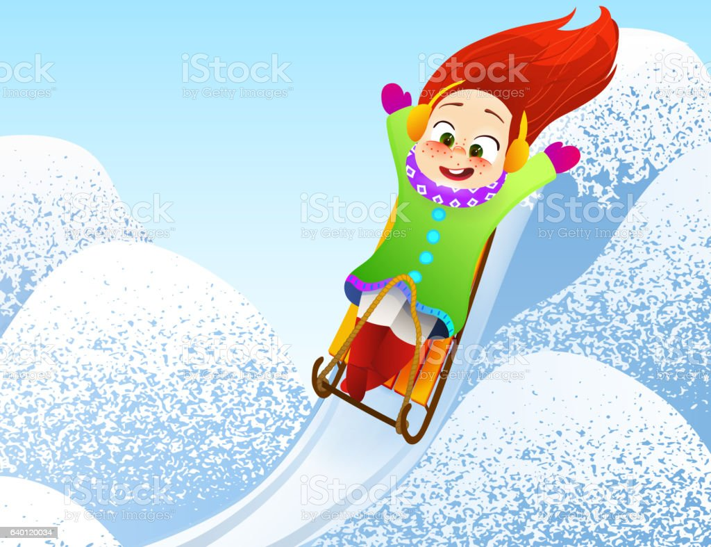 little girl sledding children play outdoors in snow christmas vacation royalty free - Christmas Vacation Sled