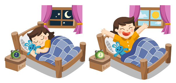 A Little girl sleeping on tonight, good night sweet dreams. and she wake up in the morning. Isolated vector