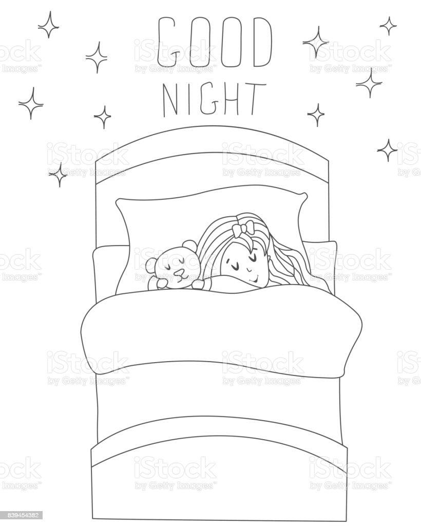 Kleines Madchen Mit Ihrem Spielzeug Tief Und Fest Schlafen