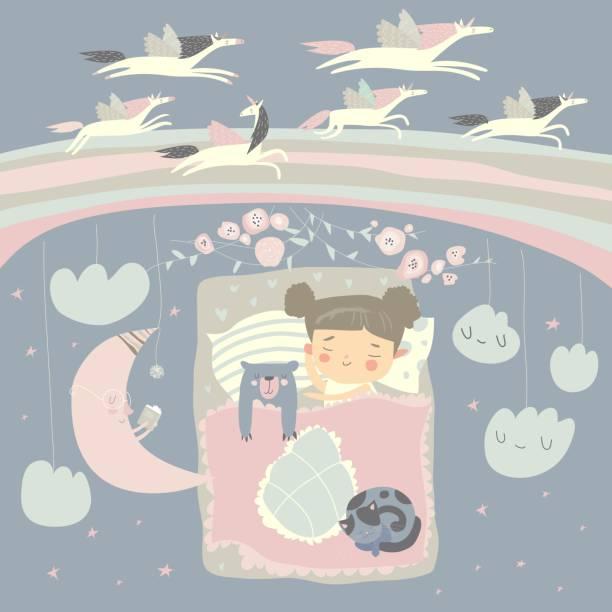 ilustrações de stock, clip art, desenhos animados e ícones de little girl sleeping with teddy bear under the stars,rainbow and moon - unicorn bed