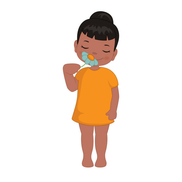 Little girl sniffs a flower Little girl smelling flower. Cartoon style illustration isolated on white background. scented stock illustrations