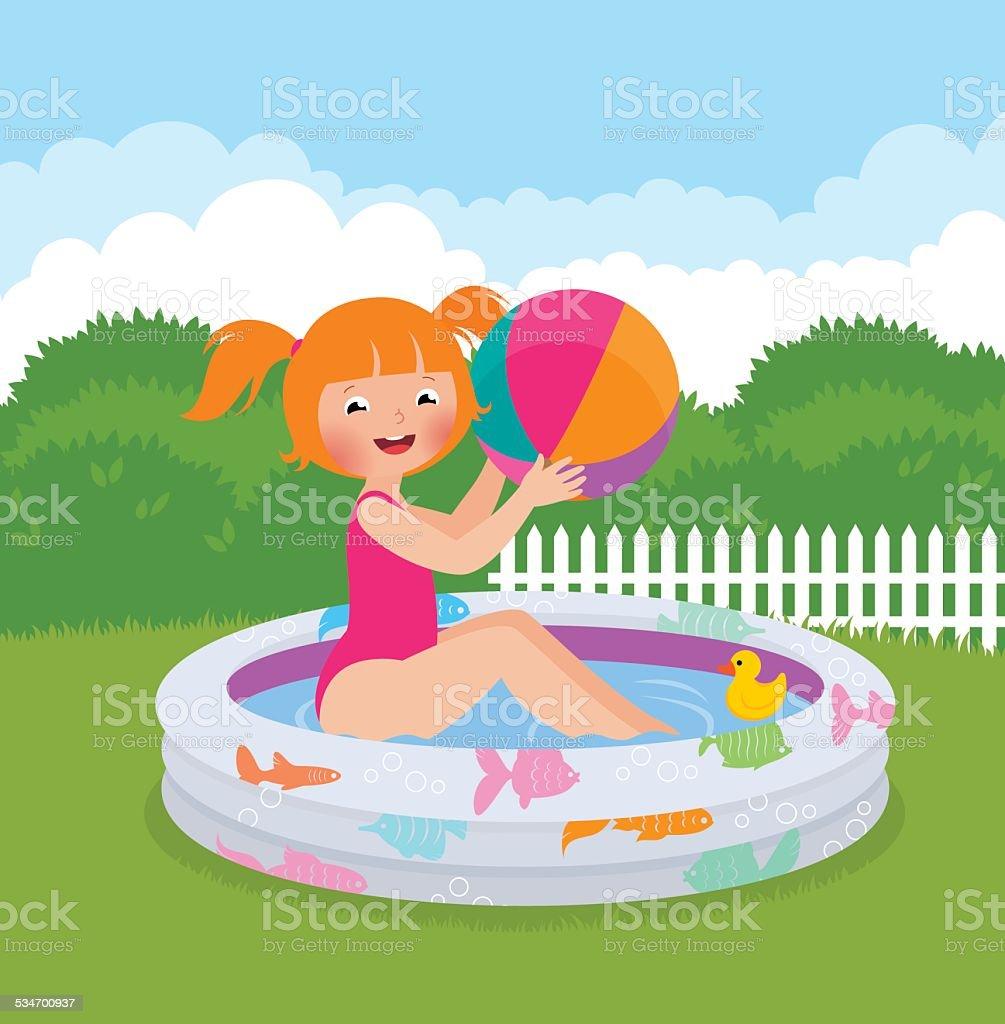 Little girl splashing in an inflatable pool in his backyard vector art illustration