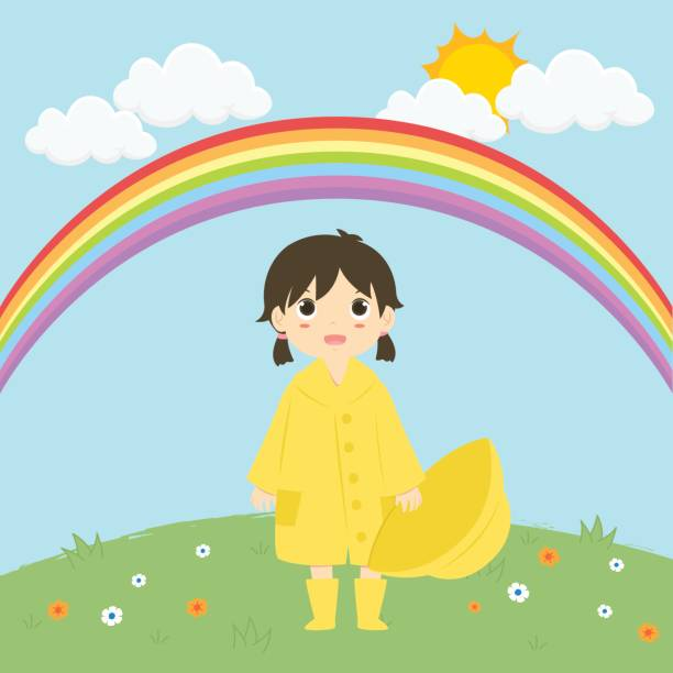 little girl standing under the rainbow vector illustration - kids playing in rain stock illustrations, clip art, cartoons, & icons