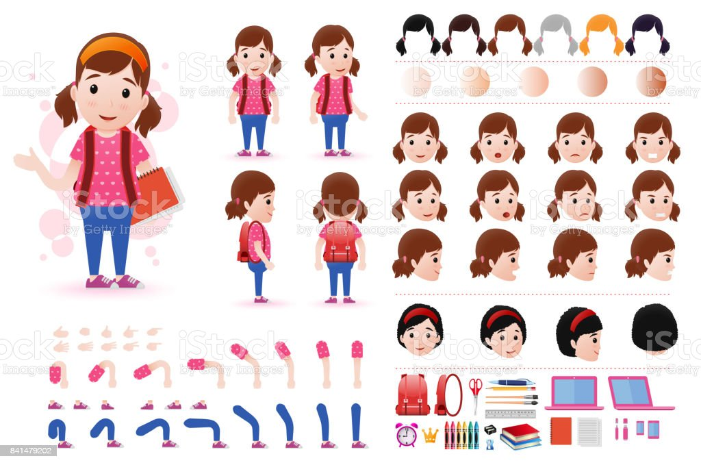 Little Girl Student Character Creation Kit Template With Facial ...