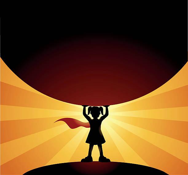 stockillustraties, clipart, cartoons en iconen met little girl superhero silhouette lifts a globe - alleen één meisje