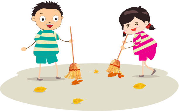 Little Girl Sweeping Stock Vector Art More Images Of