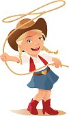 Little Girl swinging lasso dressed up like a Cowgirl