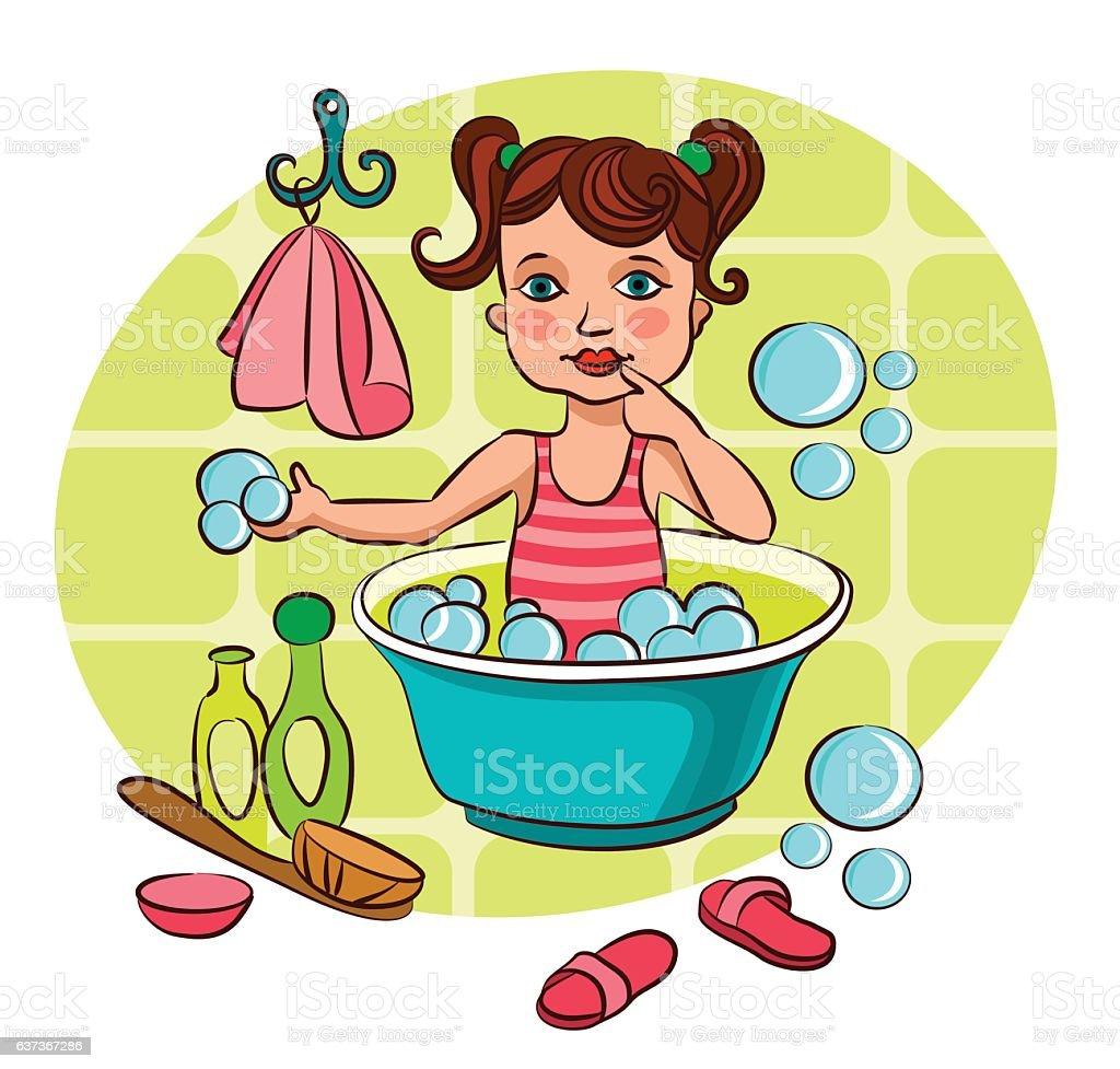 Little girl taking a bath vector art illustration