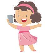 Vector Little girl taking a selfie