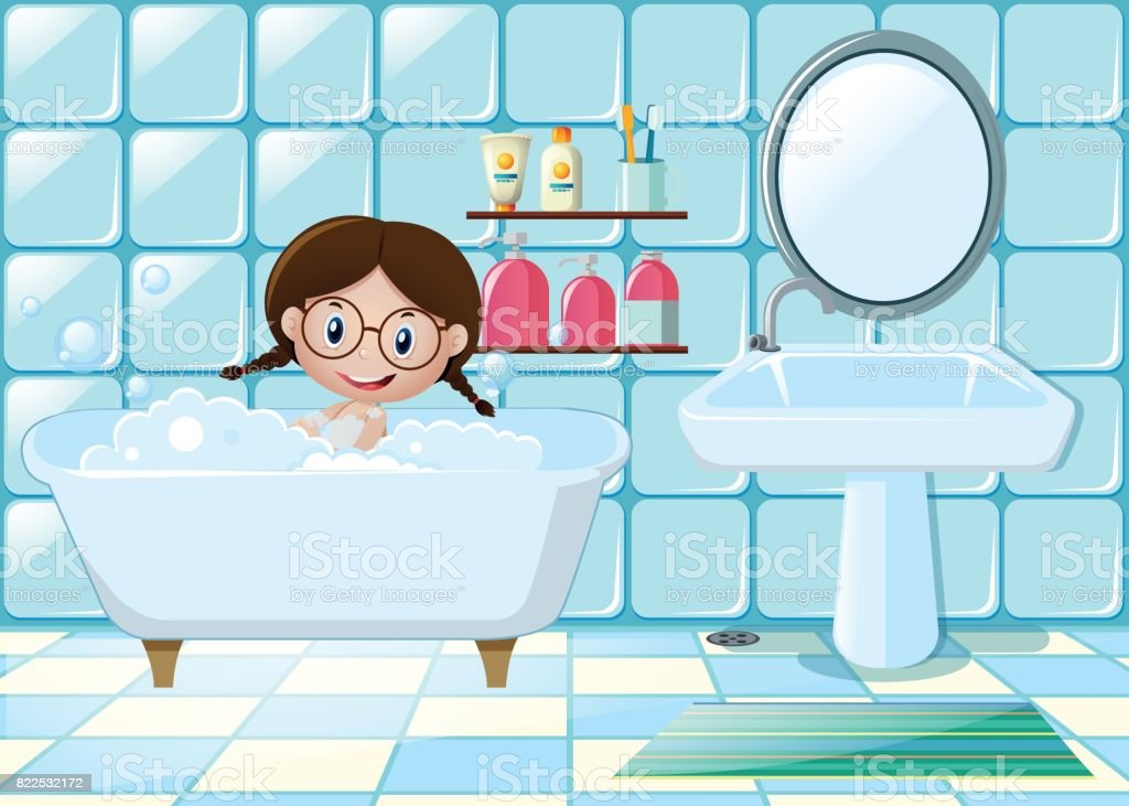 Little girl taking bath in bathroom vector art illustration
