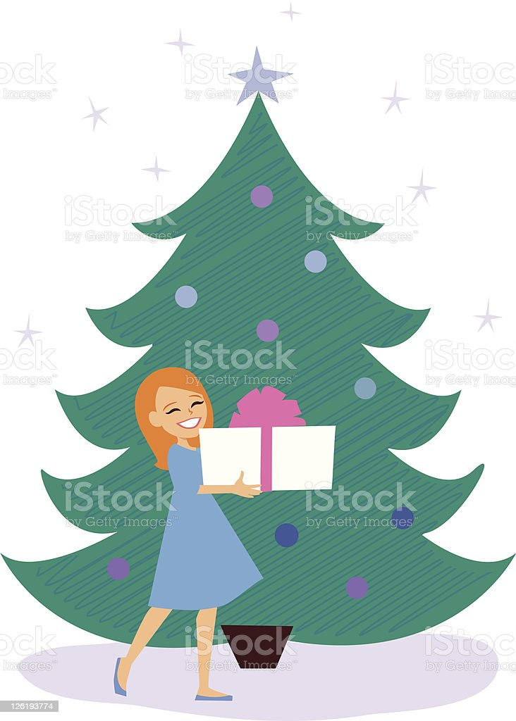 Little Girl under Christmas Tree vector art illustration