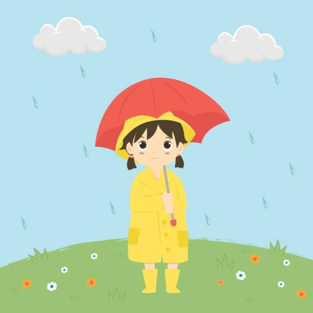 little girl under the rain vector illustration - kids playing in rain stock illustrations, clip art, cartoons, & icons