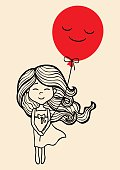 Hand drawn little girl with red balloon.