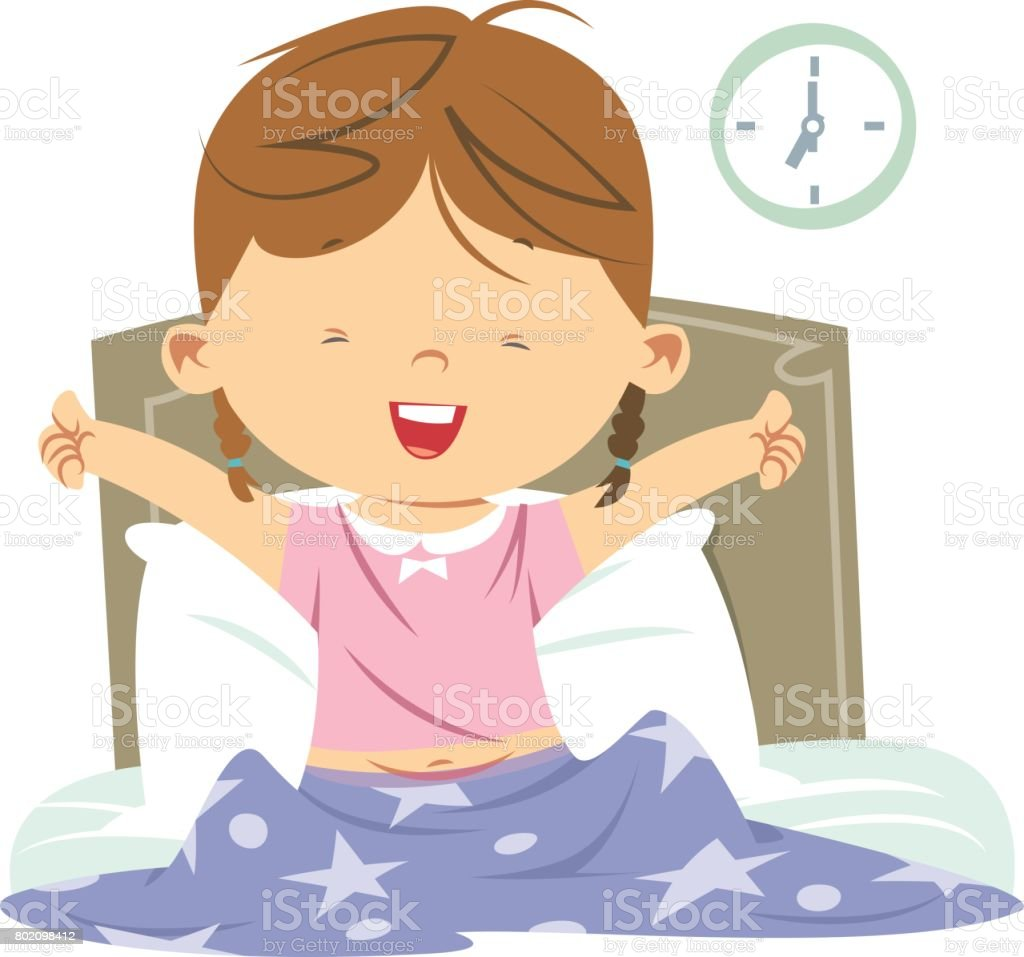 aufstehen bett vektorgrafiken und illustrationen istock Girl Waking Up Early picture of a girl waking up clipart