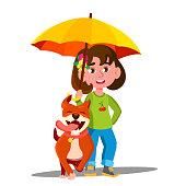 Little Girl Walking A Dog Under Umbrella In The Rain Vector. Illustration