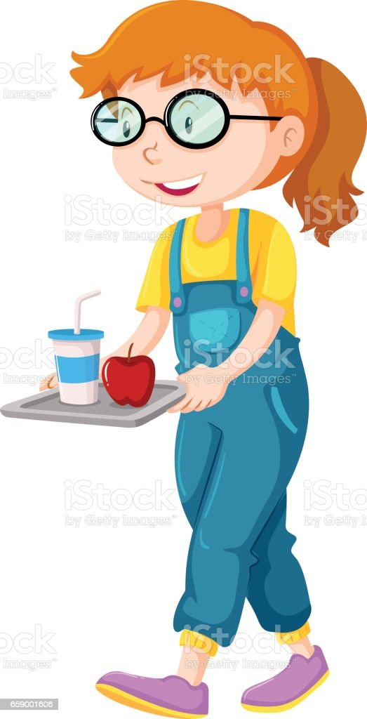 Little girl walking with tray of food royalty-free little girl walking with tray of food stock vector art & more images of animal