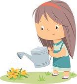 little girl watering in spring